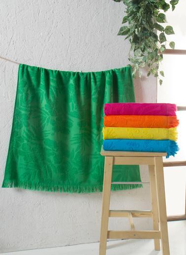 For Home Saçaklı Neon Renk Plaj Havlusu Yeşil